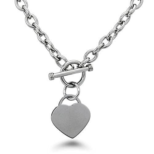 caa18697c Stainless Steel Heart Tag Charm Chain Necklace w/ Personalized Engraving w/ Personalized  Engraving