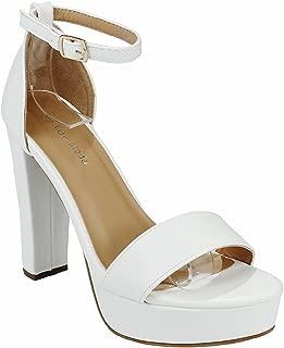 JJF Shoes Women Fashion Faux Nubuck Ankle Strap Chunky Block High Heel Platform Dress Sandals