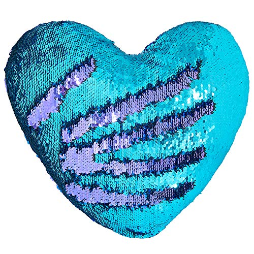 Play Tailor Mermaid Throw Pillow with Insert Reversible Sequins Pillow Heart Shape Decorative Cushion(13