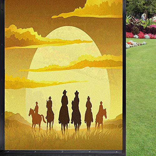 Película de privacidad para ventana de American West para el hogar, bloqueo UV, color amarillo pastel y multicolor, 60 x 90 cm