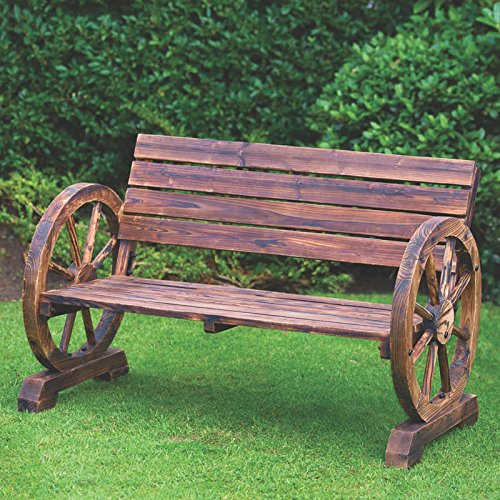 Rustic Finish Traditional construction Wagon Wheel Bench 2 Seater Garden use