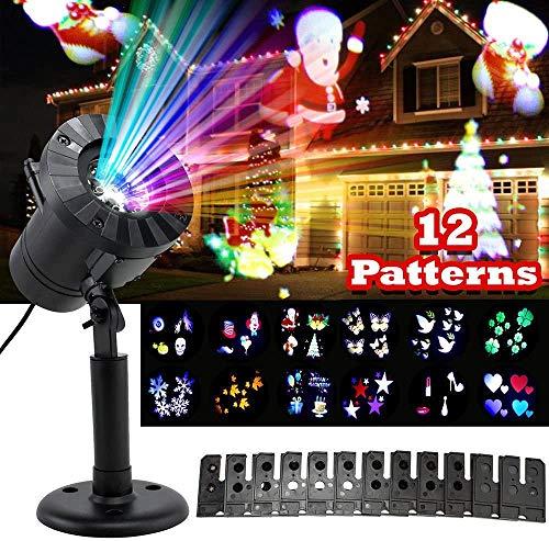 Salandens Luces decorativas proyector de interior y exterior con 12 tarjetas intercambiables, IP44 Impermeable Lampara Proyector para...