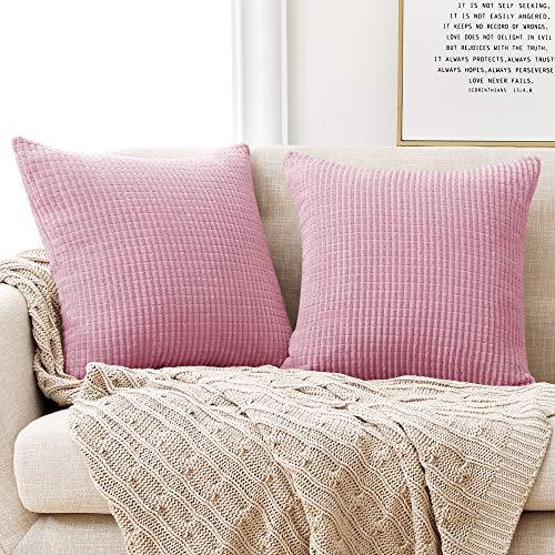 Deconovo Kissenbezug Kordsamt Zierkissenbezug Dekorativen Kissenhüllen Weiches Massiv Kissen für Sofa Couch Schlafzimmer Baby Pink 50x50 cm 2er Set