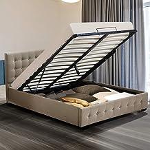 Levede Gas Lift Bed Frame Premium Fabric Base Mattress Storage King Size Beige King Fabric&Beige