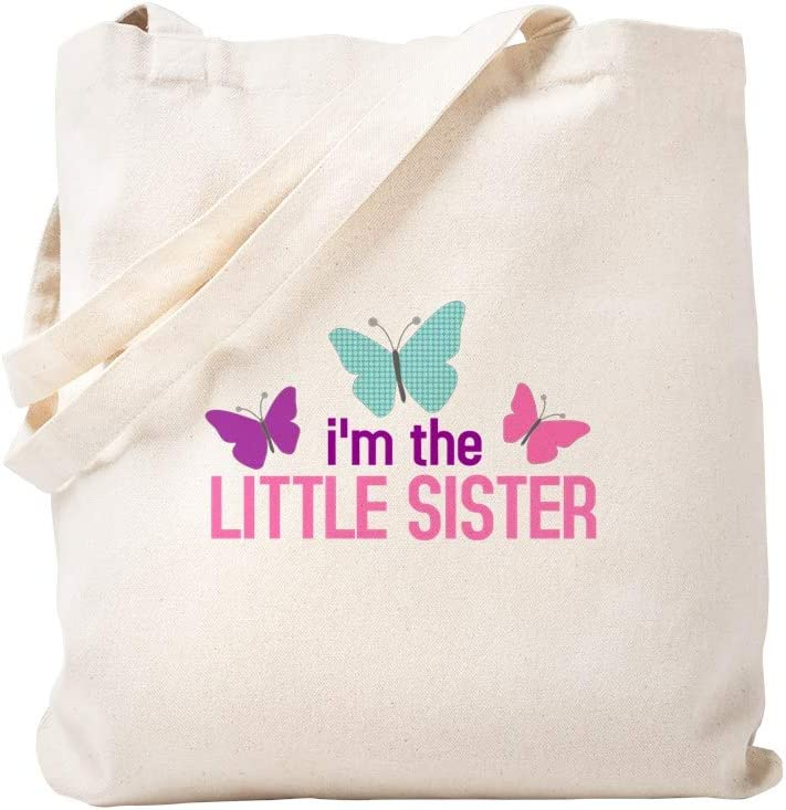 CafePress I'm The Little Sister Butterfly Tote Bag Natural Canvas Tote Bag, Reusable Shopping Bag