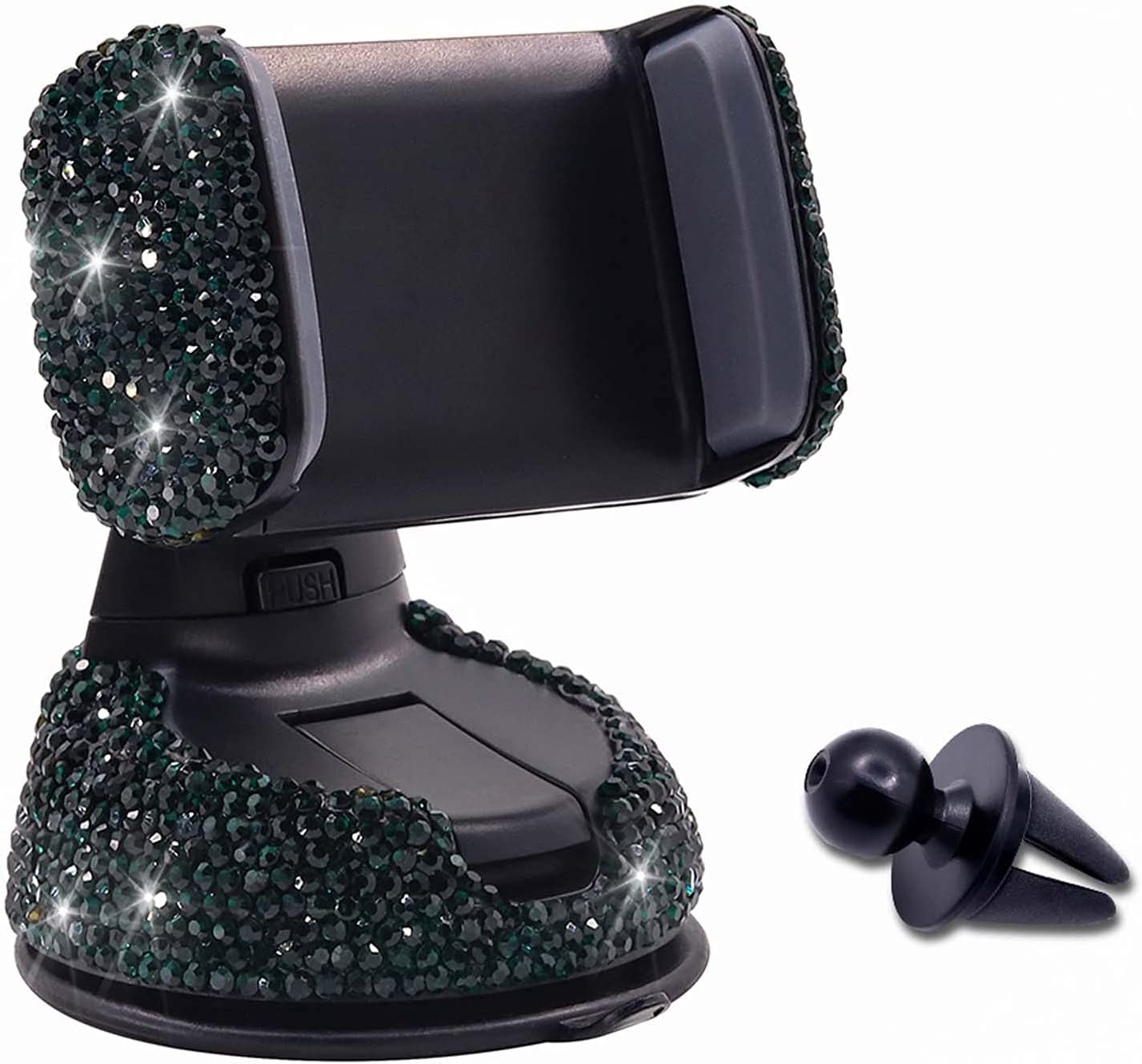 Bling Rhinestone Car Phone Holder Windshield Dashboard Mount Adjustable Phone Holder for Easy View GPS Screen Compatible with iPhone 5 6s 7 8s 9 10 SE XS XR S20 (Green)
