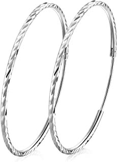 T400 925 Sterling Silver Hoops 2mm Diamond Cut Round Circle Lightweight Hoop Earrings Small and Large 25 35 45 55 65 70 mm Gift for Women Girls