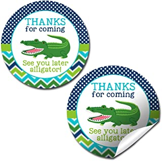 Snappy See You Later Alligator Themed Birthday Thank You Sticker Labels for Boys, 40 2