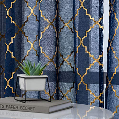 Kotile Moroccan Tile Blue Sheer Curtains - Geometric Gold Foil Lattice Pattern Print Navy Curtains 96 Inch Length for Living Room Light Filter Window Treatment, 52 x 96 Inch, 2 Panels, Navy and Gold