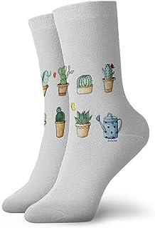 tyui7, Calcetines de compresión antideslizantes Cactus de acuarela Calcetines deportivos acogedores de 30 cm para hombres, mujeres, niños