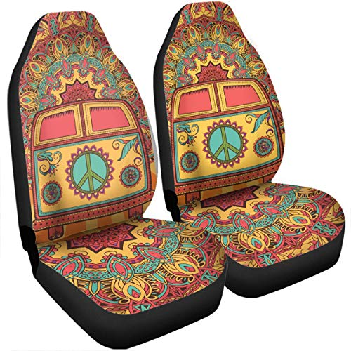 Beth-D Boho Hippie Van Camping Seat Covers Car Accessories Size Universal Fit for Most Cars SUV Truck