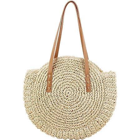 Tonpot Damen Schultertasche Creative Strohtasche runde Sommertasche Einkaufstasche für Reisen und den täglichen Gebrauch Handtasche Beige 43x62cm