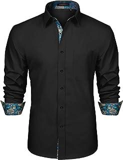 HISDERN Camicia Formale da Uomo Abito Classico Abbottonato Camicie Casual Colletto Manica Lunga vestibilità Regolare