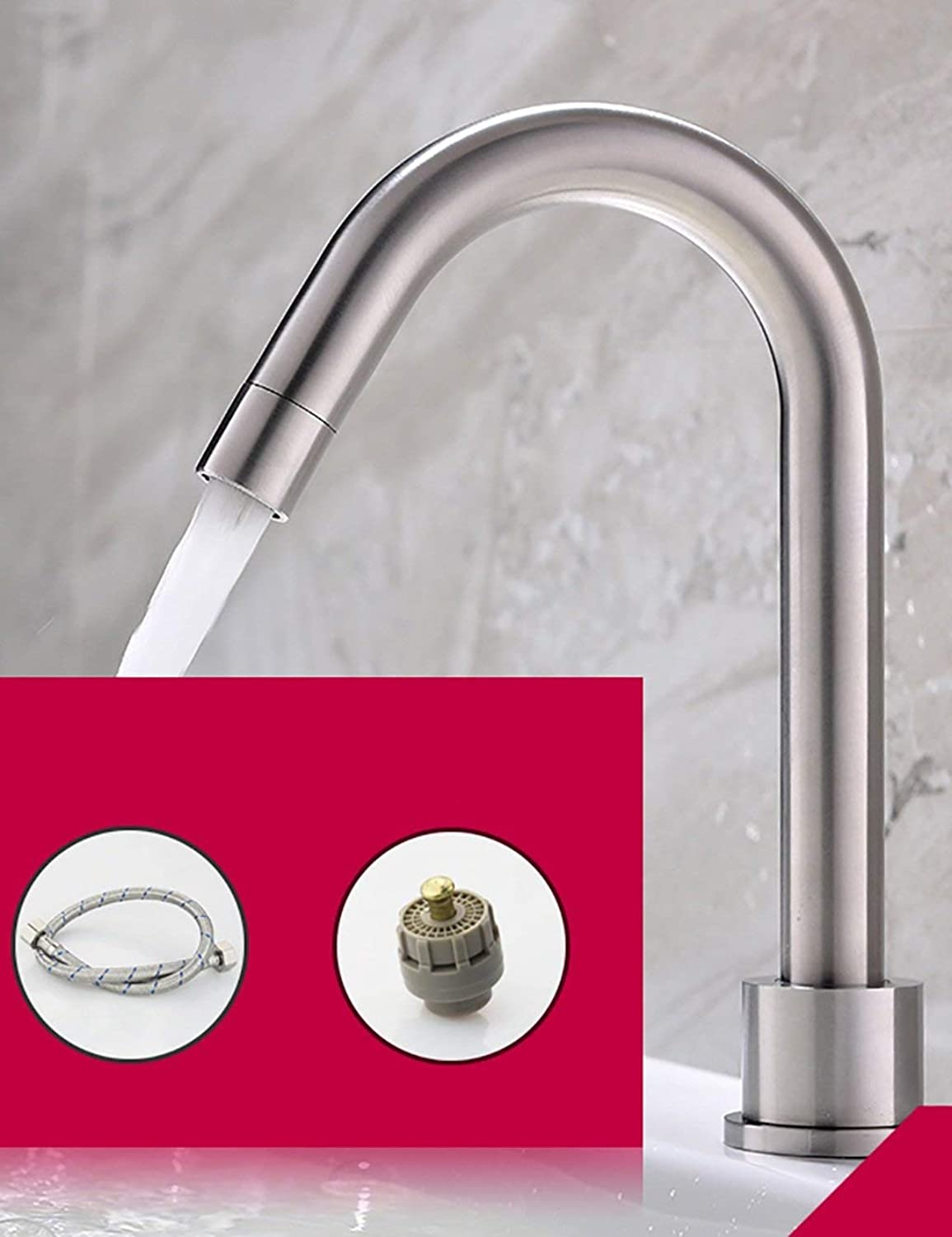 DYR Faucet European Style Simple Modern Household Kitchen Faucet Can be Turned Single Head Single Handle Pipe Inlet Stainless Steel Single Cold (color  C)