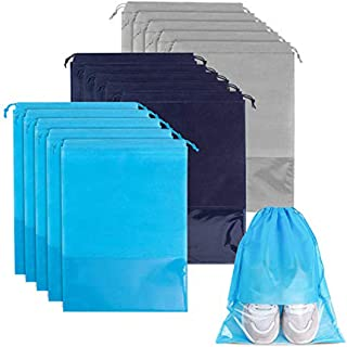15 Pieces Travel Shoe Bag, Large Non-Woven Drawstring Shoes Storage Bags with Transparent Slot for Men and Women (Navy, Sk...