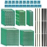 ZITFRI 85 Pièces Kit de Carte de Prototype PCB Board Universelle 5x5pcs Plaque Circuit Imprimé Double Face 20pcs Connecteur Mâle et 20pcs Connecteur Femelle 20pcs Bornier à Vis de PCB