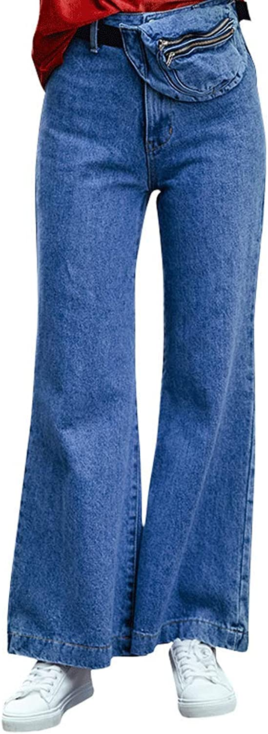 Women's WideLeg Jeans Slim Casual Straight Pants (color   bluee, Size   M)