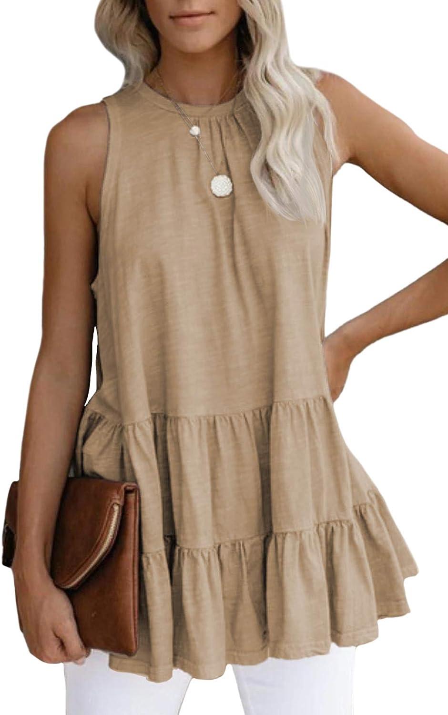 Cutiefox Women's Sleeveless Ruffle Tiered Babydoll Tank Tops Casual Loose Flowy Swing Shirt