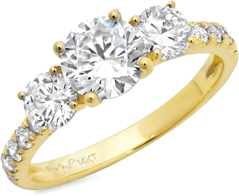 2 ct Brilliant Round Cut Solitaire 3 stone Accent Genuine Flawless Moissanite Gemstone Engagement Promise Statement Anniversary Bridal Wedding Ring Solid 18K Yellow Gold