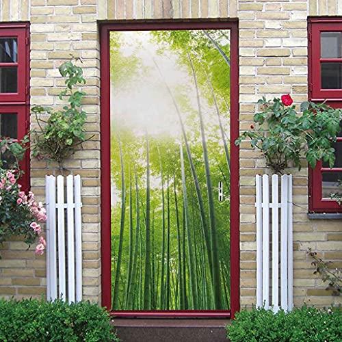 BARFPY Pegatinas de puerta en 3D Paisaje de bosque de bambú verde soleado Creativo mural de puerta Vinilo Autoadhesivo Removible Papel Tapiz Impermeable Posters para Cocina dormitorio Sala de Baño De
