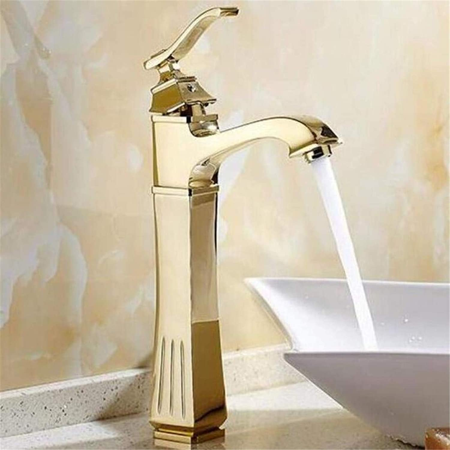 Faucet Vintage Plated Kitchen Bathroom Faucet Oil Bubed Bronze Bathroom Single Handle Basin Faucet Hot&Cold Mixer Tap Bathrom Washbasin Carved Faucet