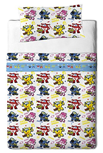 Super Wings - Set di lenzuola per letto 200x105x25 cm multicolore