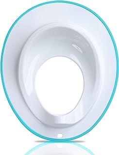 Asiento de inodoro para niños pequeños blanco Color blanco con borde azul.