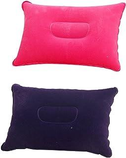 Ndier Juego de 2 cojines inflables de viaje, ligeros y portátiles para actividades al aire libre, color morado oscuro y rojo rosa