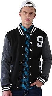 uxcell Men`s Button Front Baseball School Lettermans Varsity Bomber Jacket