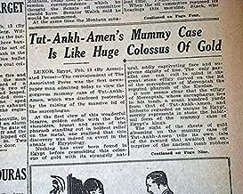 KING TUTANKHAMEN Mummy Sarcophagus Coffin OPENED in Luxor Egypt 1924 Newspaper FITCHBURG SENTINEL, Mass, February 13, 1924