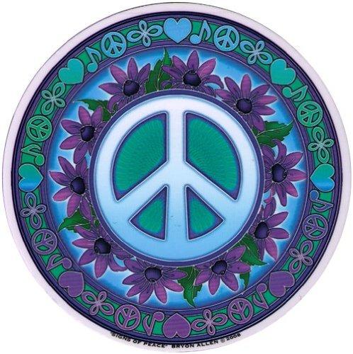 "Mandala Arts Signs of Peace – Peace Window Sticker/Decal - Circular 4.5"" Translucent"