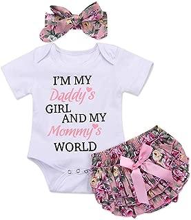 3PCS Newborn Toddler Baby Girl Outfit Summer Clothes Set Floral Romper Bodysuit Tops+Tutu Shorts Pants Dress +Headband