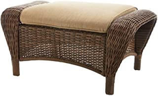 Hampton Bay Beacon Park Wicker Outdoor Ottoman with Toffee Cushions