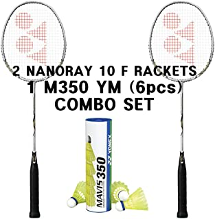 Yonex 2 Nanoray 10 F Rackets 1 tube Mavis 350 Yellow Medium Shuttlecock Combo Set