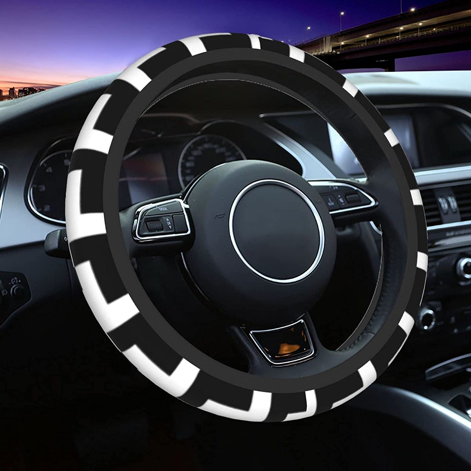 Black and White Distort Checkered Bombing free shipping Cover Wheel Ranking TOP18 Universal Steering