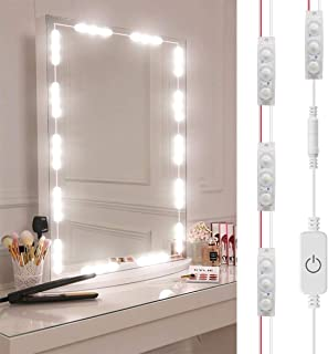 DIY Hollywood Style LED Vanity Mirror Lights Kit Dimmable Lighting, 10FT/20W-60leds, Daylight White, Waterproof IP67 Under Cabinet Lighting, Kitchen Lighting with Touch Dimmable and Power Supply