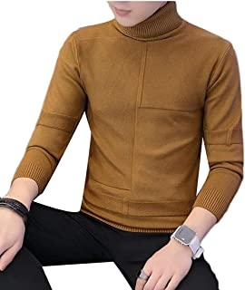 Men's Solid Turtleneck Pullover Thermal Knit Slim Fit Sweater Navy Blue Small