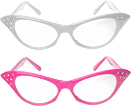 عینک گربه ای گربه با بدلیجات - عینک یکپارچهسازی با سیستمعامل دهه 50 (2 بسته) (عینک چشم گربه صورتی و سفید)