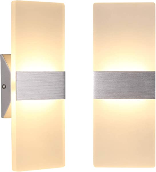 TRLIFE Modern Wall Sconces 12W Set Of 2 LED Wall Sconce 3000K Warm White Wall Sconce Lighting For Hallway Bedroom Bathroom Porch Staircase Cafe Hotel 11 4 X 4 33