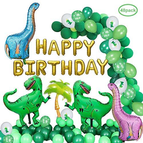 DAYPICKER 48 Pezzi Decorazioni per Feste di Dinosauri, Palloncini Dinosauro 20pcs Palloncini Lattice Verde 10pcs Palloncini Dinosauro 2pcs Tirannosauro Verde Rex 2Pc Palloncini Blu Dinosauro