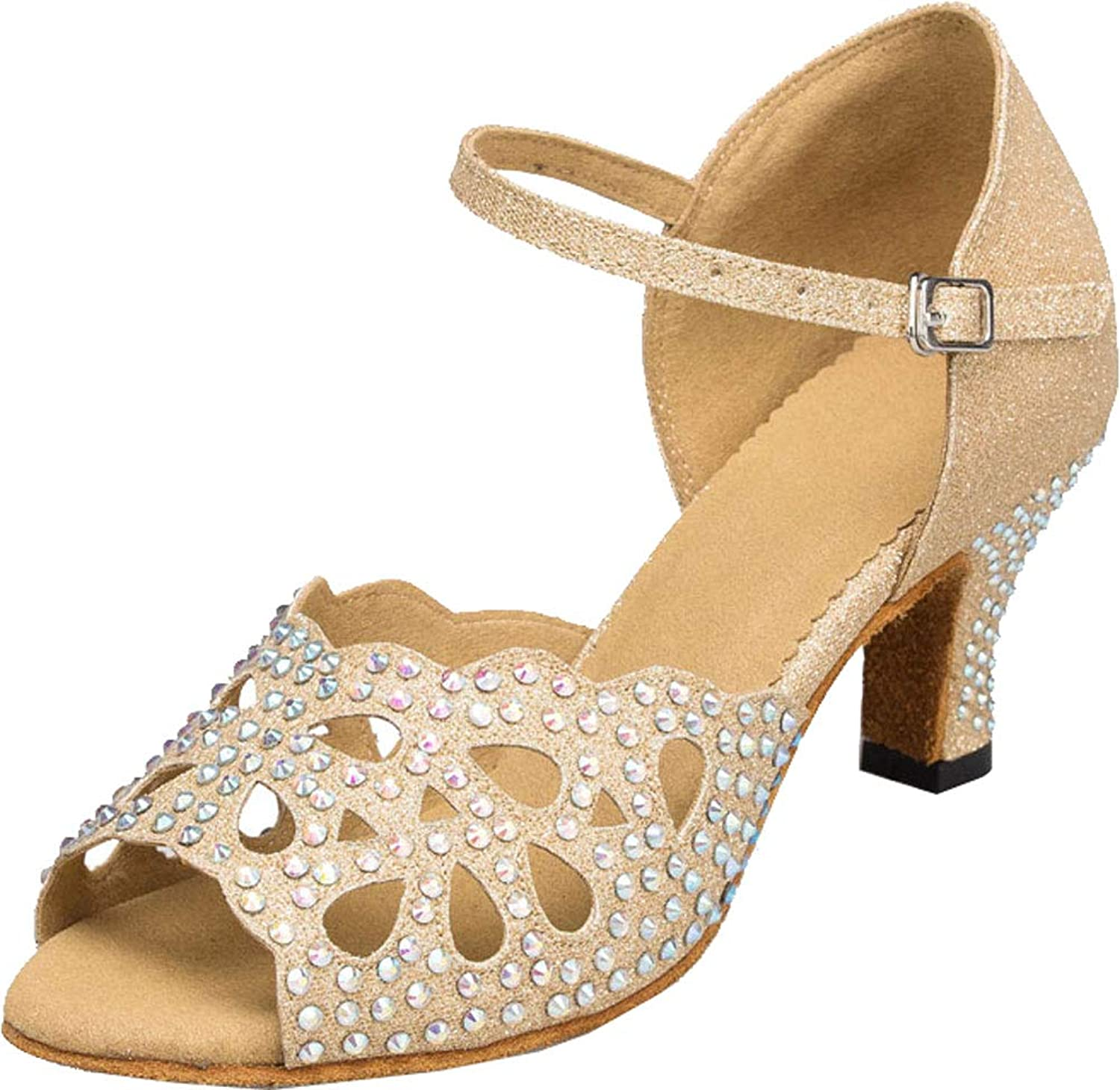 Womens Flat Salsa shoes Low Heel Peep Toe Latin Tango Party Wedding Prom 1010