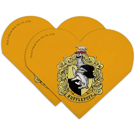 Amazon Com Harry Potter Hufflepuff Painted Crest Heart Faux Leather Bookmark Set Of 2 Office Products