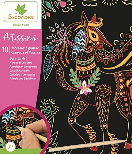 SYCOMORE-CREA014 Artissimo-10 Tableaux à gratter-Chevaux et Licornes-Scratch Art-Loisirs Créatifs Enfant-Dès 7...
