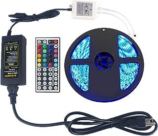 eTopxizu 16.4ft 5M Waterproof Flexible strip 300leds Color Changing RGB SMD5050 LED Light Strip Kit RGB 5M + 44Key Remote Controller + 12V5A Power Supply