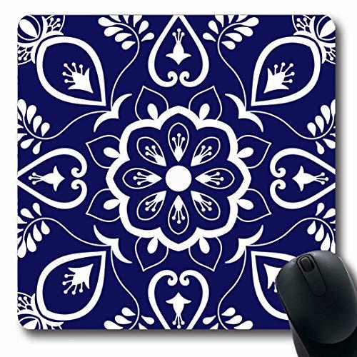 Mausemat Mosaik Italienisches Muster Blaue Keramik Delft Blume Niederländisch Lisboa Majolika Sizilien Personalisierter Computer Mousepad Tastatur Gummi 25X30Cm Bedruckte Büromaus