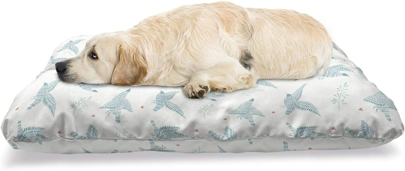 Lunarable Birds Pet Bed Dealing full price reduction Pigeon on B Hearts Off-White Max 57% OFF Silhouette