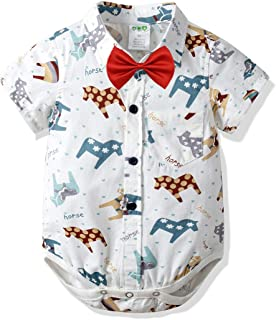 Newborn Baby Boys Romper Clothes Animals Print Short Sleeve Onesies Bodysuit Jumpsuit
