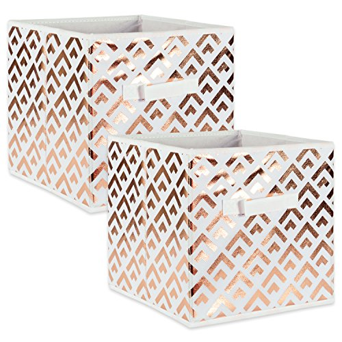 DII Fabric Storage Bins for Nursery, Offices, & Home Organization, Containers Are Made To Fit Standard Cube Organizers (11x11x11) Double Diamond Copper on White - Set of 2