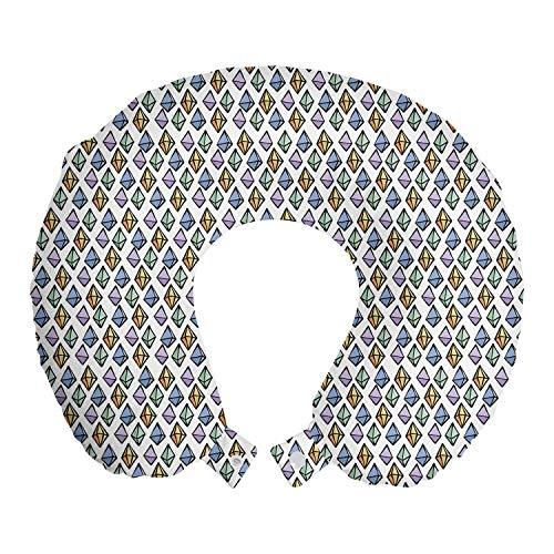 ABAKUHAUS Geología Cojín de Viaje para Soporte de Cuello, Los Productos de Dibujado a Mano de Piedras Preciosas, de Espuma con Memoria Respirable y Cómoda, 30x30 cm, Multicolor