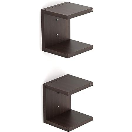 BLUEWUD Alvin Engineered Wood Wall Mount Book Shelf Rack/Display Case Set of 2 (Wenge Finish)